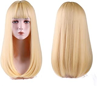 Hairpieces Medium Length Cosplay Wig with Bangs Light Orange Synthetic Straight Hair Heat-resistant Rose Net Wigs for Wome...