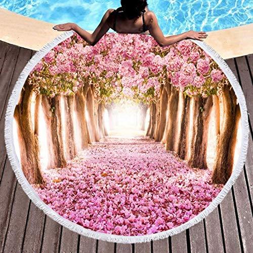 GermYan Kawaii Flowers Rose Pink Toalla de baño de Playa Manta de mar Redonda Alfombra de Yoga Junto al mar Estera de Picnic