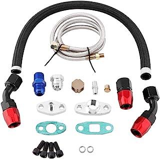 Turbo Ölzulaufleitung Fitting Adapter Flange Kit, Turbo Ölzulauf Rücklaufleitung AN10 Fitting Adapter Flange Kit für T3 T4 GT35 T70 T66
