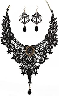 JoyTong Black Lace Necklace Earrings Set, Lace Pendant Choker and Eardrop