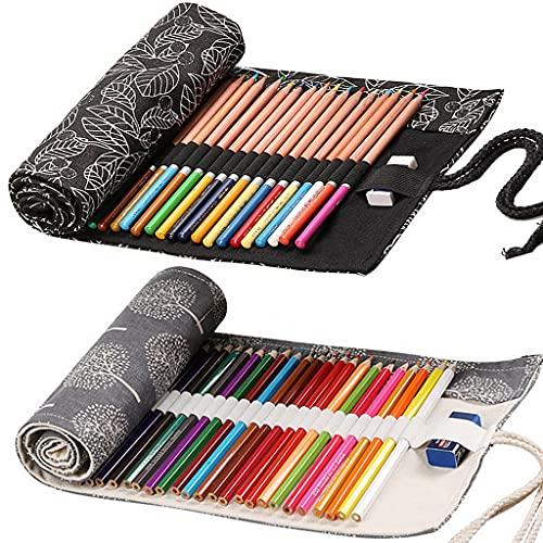 Ouceanwin Canvas Pencil Wrap, 2 stuks 36 gaten canvas pennenrol draagbaar tas pennenetui etui pennenhouder etui voor…