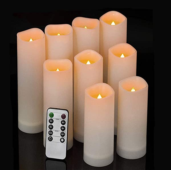 Comenzar Flameless Candles Waterproof Outdoor Indoor Led Candles Set Of 9 H 5 6 7 X D 2 2 Battery Operated Candles With Remote Timer Made Of Plastic