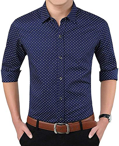 MAYUR Polka Print Dotted Cotton Shirts for Men for Formal Wear,100% Cotton Shirts Navy