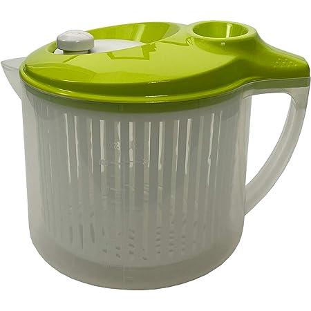 Snips 020394 Essoreuse pour Salade Lave et sécher, 3 l, Plastique, Transparent avec Couvercle Vert, 3 LT