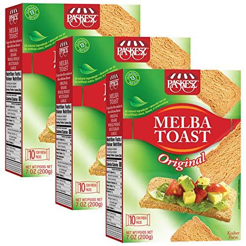 Paskesz Melba Toast, Flatbread Toast Crackers, All Natural Non-GMO, 7 Oz, 3 Pack (Original)