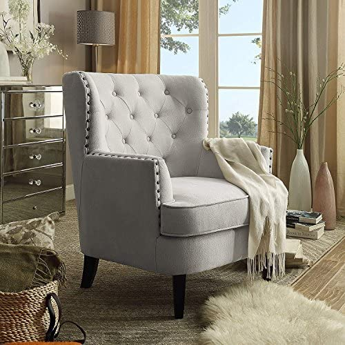 Best Rosevera Home Gustavo Collection Fabric Nailhead Club Chair, Contemporary Accent Chairs, Beige
