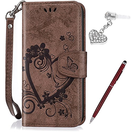 Kompatibel mit Huawei Y635 Hülle,Huawei Y635 Schutzhülle,Prägung Liebes Herz Schmetterlings Blumen PU Lederhülle Flip Hülle Handyhülle Ständer Tasche Wallet Case Schutzhülle für Huawei Y635,Braun