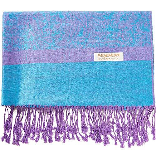 Paisley Pashmina Silk Scarf Shawl Cashmere Wrap Stole Two Tones Soft (BLUE/PURPLE)