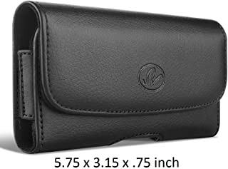 Large Leather Belt Clip Carrying Sideways Case Holster for BlackBerry Leap Devices - (Fits with Otterbox Defender, Commuter, LifeProof Cover On It)