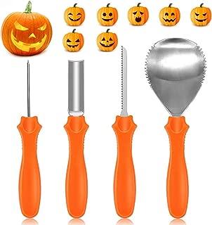 IREGRO Pumpkin Carving Kit, Heavy Duty Stainless Steel Pumpkin Carving Tools Set with 10 Carving Stencils for Halloween Pumpkin Sculpting