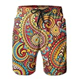 Floral Paisley Pattern Men's/Boys Casual Quick-Drying Bath Suits Elastic Waist Beach Pants with Pockets Large