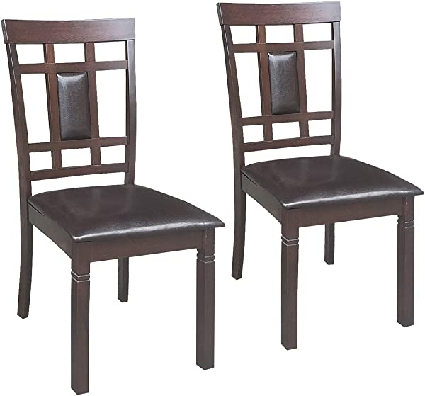 Giantex Set Of 2 Dining Chairs Wood Armless Chair Home Kitchen Dining Room High Back Chairs W PU Leather Padded Seat 19 20 37 5 W D H High Back Side Chair Dark Brown
