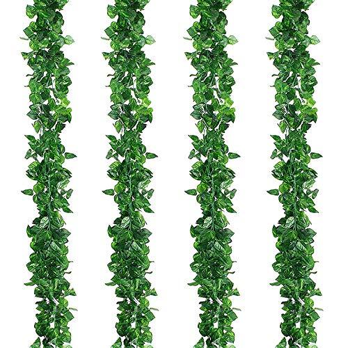 Kalolary 84Ft 12 Strands Artificial Ivy Garland Leaf Vines Plants Greenery, Fake Vine Plants Leaf Garland, Hanging for Wedding Party Home Garden Kitchen Office Wall Decor(Scindapsus Vine)