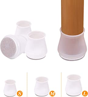 Chair Leg Caps Prevents Scratches and Noise Fits 1 to 1-3//16,Brown AIRUJIA 24 Pack Round Chair Leg Floor Protectors Furniture Silicone Protection Cover Furniture Feet Cups with Felt Pads Beneath