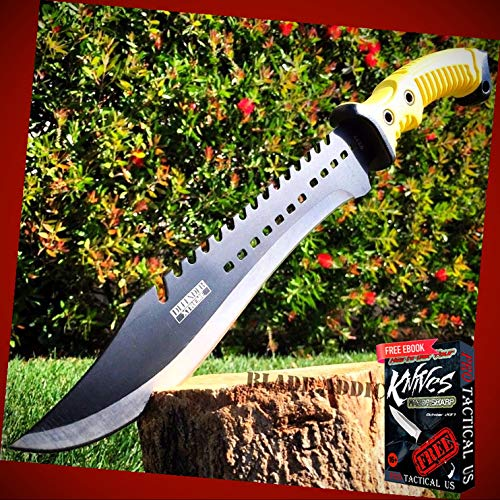 """New 15.5"""" inch TACTICAL HUNTING SURVIVAL FIXED BLADE MACHETE Rambo ProTactical Knife Sword Camping BA-0940kn + Free eBook by PrTac-US"""