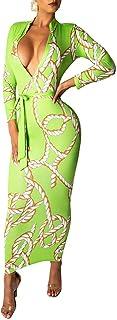 Sprifloral - Abito da donna con cerniera, scollo a V, con catena dorata e stampa