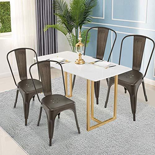 Barhocker, GentleShower Metall Esszimmer Beistellstuhl, 4er Set Stapelbarer Tolix Style Indoor-Outdoor Verwendung Stapelbare Esszimmerstühle Küche Modern Style Stühle Kupfer
