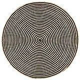 UnfadeMemory Alfombra de Yute Redonda con Estampado Espirales,Alfombra para Salón Habitación Dormitorio Oficina,Suave al Tacto,Tejida a Mano (Diámetro 150cm, Natural y Negro)
