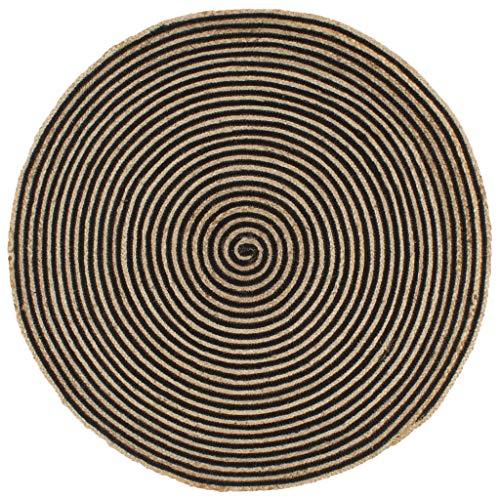 Festnight Teppich Handgefertigt mit schwarzem Spiraldruck Juteteppich Handwebteppich Läufer...