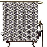 SKDSArts Duschvorhänge, Vintage-Stil, türkisches Muster, mittelalterliche Damast-Blumen mit Wirbellinien & Kreisen auf Beige, Indigo-Beige, W69 x L72 cm, Duschvorhang für Duschkabine