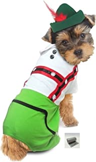 Puppe Love Oktoberfest Lederhosen Alpine Costume with Themed Charm Accessory - Choice of Boy or Girl -in Color Green – Available in Dog Sizes XS Thru L