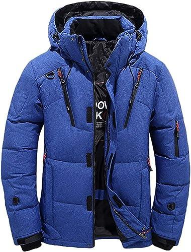 Qiusa Veste à Capuchon pour Hommes - Veste de Sport d'hiver avec Poches (Couleuré   Bleu, Taille   petit)