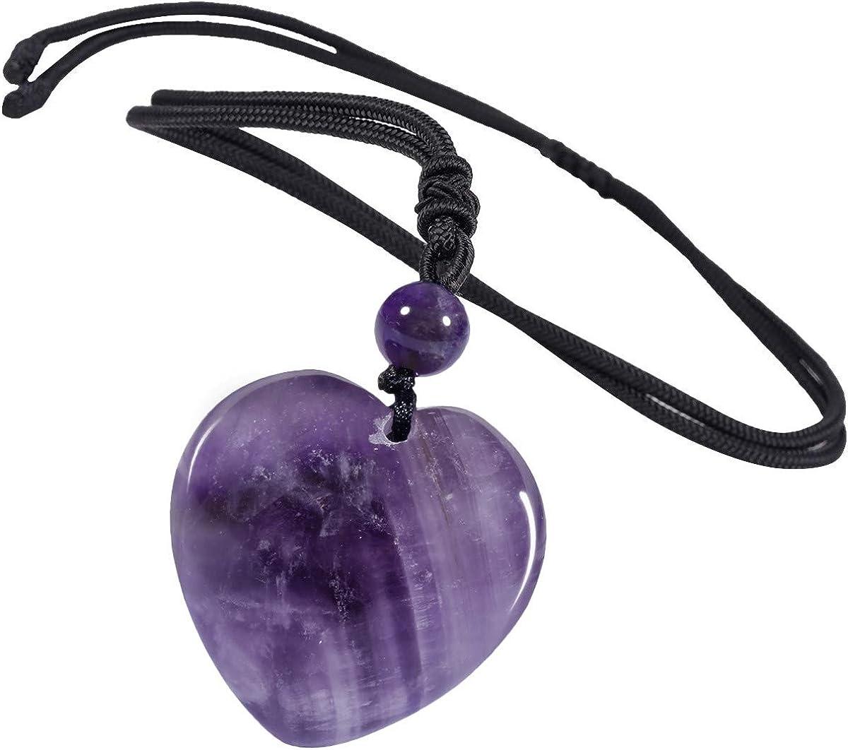 TUMBEELLUWA Carved Max 60% OFF Stone Heart Shape Necklace Pend Quartz Chakra Great interest