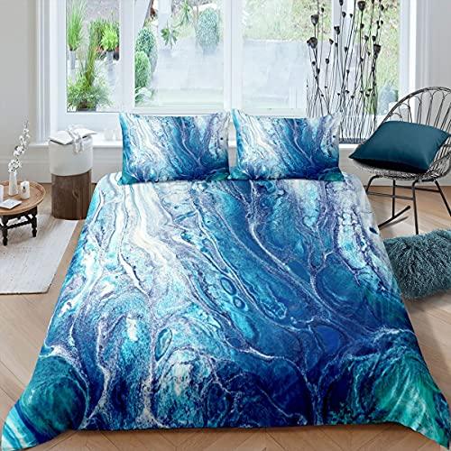 Juego de cama de mármol con textura de mármol y lino para niños, niñas, niños, adolescentes, colcha moderna, de lujo, azul, tamaño doble con 2 fundas de almohada