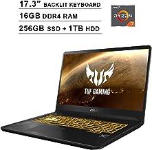 ASUS TUF 17.3 Inch FHD 1080p Gaming Laptop - AMD Ryzen 7 3750H up to 4.0 GHz, NVIDIA GeForce GTX 1650 4GB, 16GB DDR4 RAM, 256GB SSD (Boot) + 1TB HDD, Backlit KB, WiFi, Bluetooth, HDMI, Windows 10