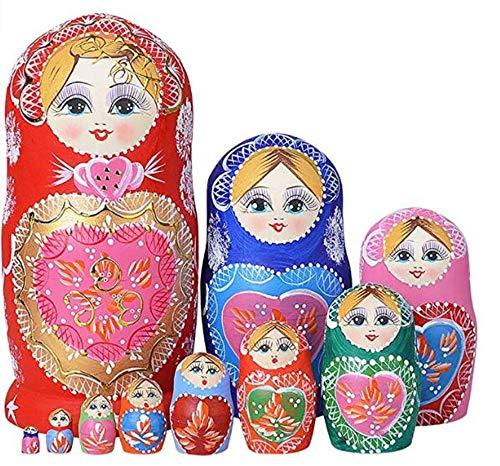Trayosin 10st 20cm Matryoshka Russische Puppen Klassische Hand Made Russian Nesting Dolls Geschenk Souvenirs