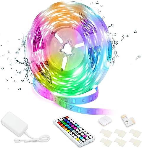 Led Strip Lights, 16.4ft/5M 24V RGB Color Changing Waterproof Led Strip Lights with 44 Keys RF Remote Controller 5050...