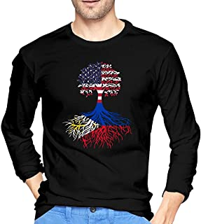 American Filipino Roots Camiseta de Manga Larga para Hombre Camisas de algodón con Cuello Redondo