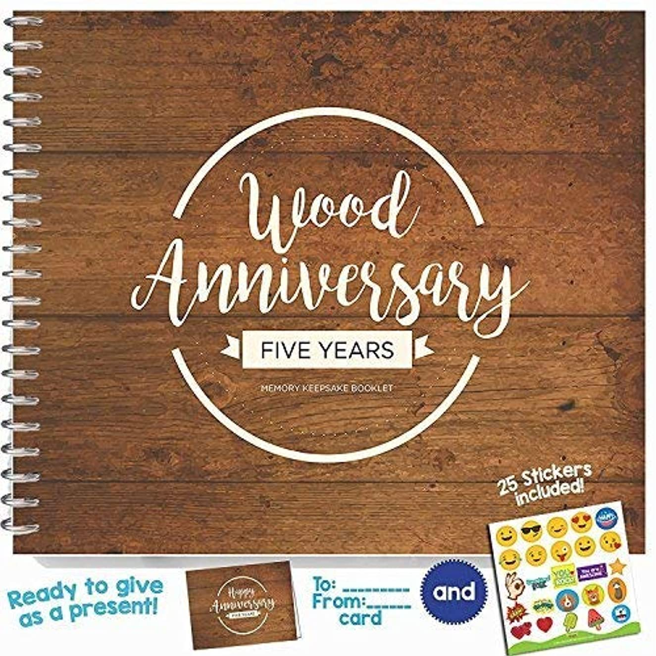 Unique 5th Wedding Anniversary Memory Book with Stickers and A Matching Card - 5-Second Memory Journal For Your Special Wood Anniversary - The Perfect Keepsake Booklet for Special Memories