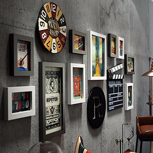 Paintsh Bois Massif Mur de Photos Creative Living Room du Corridor de lentreprise Un Grand Format Cadre Photo Mur Mur Mur de Photos Portefeuille Noir / Ville Envoyer Tous Tirer M/émoire Core