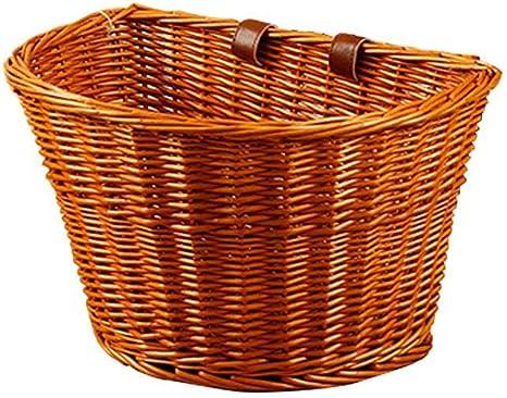 Millster - Cestas de mimbre para playa y mujer con bicicleta delantera para adulto, cestas de bicicleta para mujer, cestas de bicicleta, parte trasera, de mimbre, para manillar de bicicleta, B: Amazon.es: