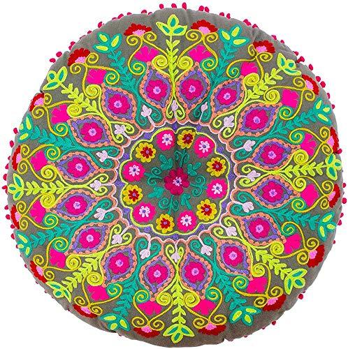 "Riva Paoletti Circus Runde Bodenkissen - Dunkelgrau - Neon Gestickter Entwurf - Kontras Rosa Pom Pom Edges - 100% Baumwolle - Polyester Füllung Hollow - 75 X 75 cm (30"" X 30"" Zoll)"
