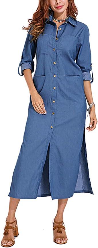 VONDA Vestido de camisa de mezclilla con bolsillos y manga con botones y abertura para mujer