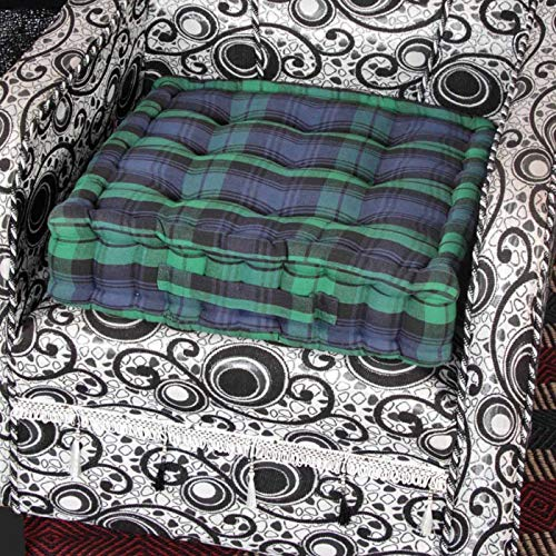 HOMESCAPES Blue and Green Tartan Armchair Booster Cushion Large Firm 50 cm Square Seat Pad with Supportive 10 cm Thick Lift Luxury Soft Cotton Cushion For The Elderly, Post-Operative and Pregnancy