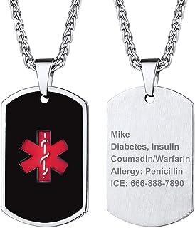 Supcare Cruz Roja Alerta Médica Collar ID Acero Inoxidable Placa de Identidad Colgante con Cadena Joyería Funcional de Hombres y Mujeres para Casos de Emergencia Personalización Gratis
