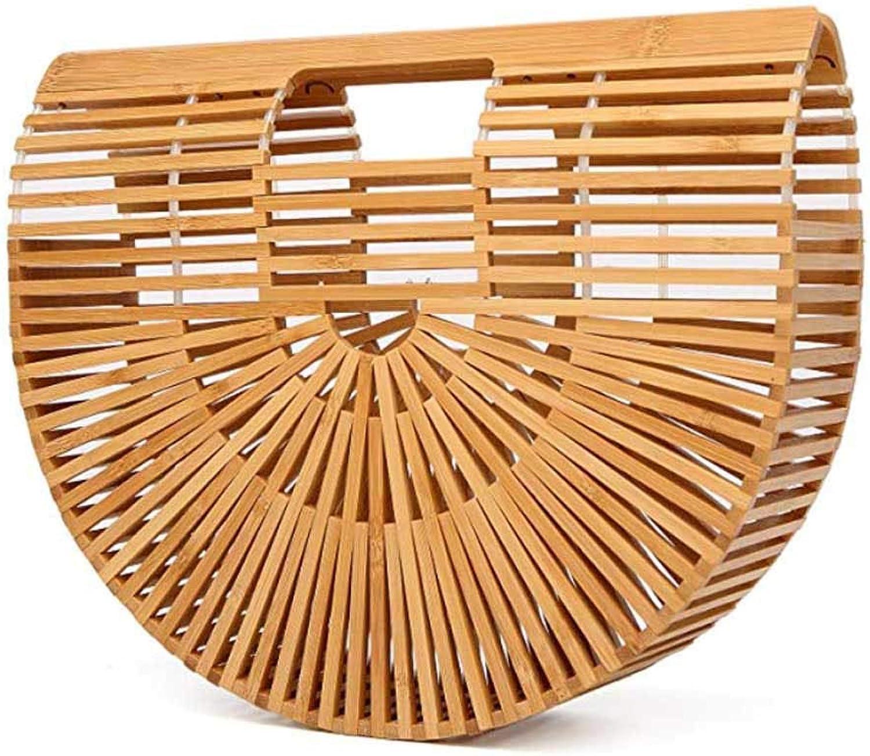 Bamboo Handbag Handmade Tote Bamboo Purse Straw Beach Bag for Women