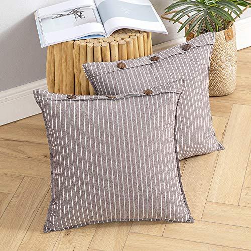 pequeño y compacto MIULEE 2 fundas de almohada de lino a rayas con pegamento Colores modernos de fundas de almohada…