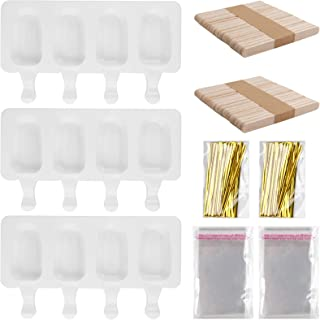 HaiMay 3 Pieces Popsicle Molds Silicone Ice Pop Molds Ice Pop Maker Cakesicle Mold with 100 Wooden Sticks 100 Packing Bags...