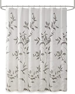 Madison Park Cecily Botanical Modern, Contemporary Design Water Repellent Shower Curtains for Bathroom, 72 X 72, Grey, 72x72