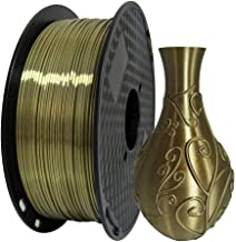 Silk Antique Gold PLA Filament 1.75mm 3D Printer Filaments 1KG (2.2LBS) Printing Material Silky Gold Filament like Metallic Bronze Brass PLA Filaments Materials CC3D Also Shiny Silk Gold Silver Copper