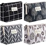 4 Pieces Canvas Cosmetic Bags Set Printed Makeup Bags with Zipper Multi-Functional Canvas Travel Pouch for Women Girls Vacation Travel Toiletry Bag, 4 Styles (Arrow, Plaid, Tree, Leave)