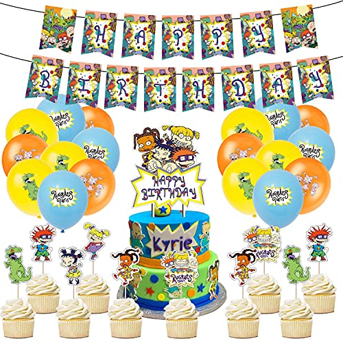 Rugrats Birthday Theme Party Decorations and Supplies for 1st Girls and Boys Includes Banner Balloons Cupcake Toppers Decor Set African American Kids