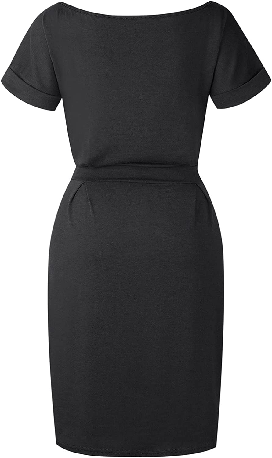 Womens Classic Boatneck Dresses Slim Fit Solid Business Office Cocktail Pencil Professional Dress with Belt