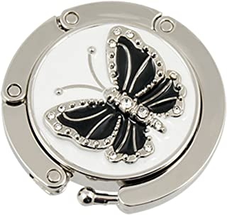 Round Folding Butterfly Accent Hook Handbag Table Hanger Black