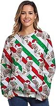 UONQD Women Christmas 3D Print Long Sleeves O-Neck Pullover Sweatshirt Blouse Tops