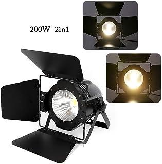 ZHFEISY 200W LED Stage Par Light - COB 2in1 Cool & Warm White DMX Control Stage Lighting w/Digital Display & 4x Panel FOR Wedding/Party/Stage/DJ Show